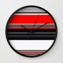 red white black grey striped pattern Wall Clock