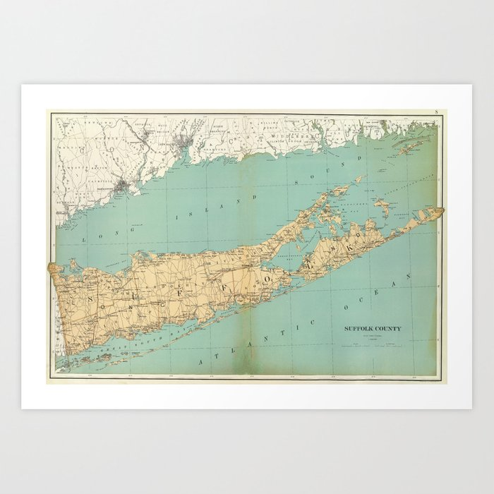 Vintage Map of Suffolk County NY (1895) Kunstdrucke