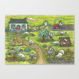 TURKEY FARM - Brack Thanksgiving Folk Art Canvas Print