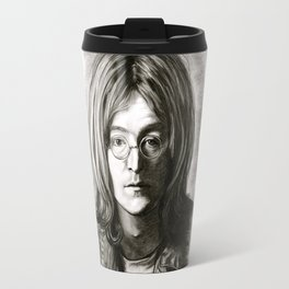 John in Black and White Travel Mug
