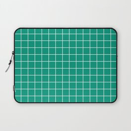 Paolo Veronese green - green color - White Lines Grid Pattern Laptop Sleeve