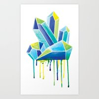 crystals Art Prints featuring Crystals by Liz Urso