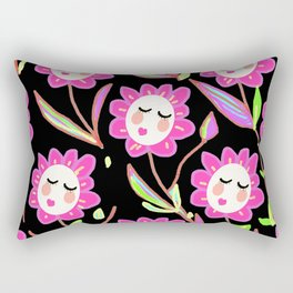 Psychedelic Ladyflowers Rectangular Pillow