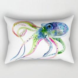 Blue Rainbow Octopus Rectangular Pillow