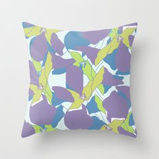 Blocked Flowers Throw Pillow