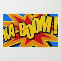 comic book Area & Throw Rugs featuring KA-BOOM! Distressed Classic Comic Book Style  by Sterling Art