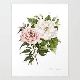 Pink Rose and Magnolia Art Print