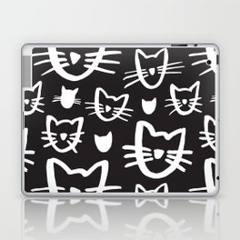 Cat's Whiskers Black And White Illustration Pattern Laptop & iPad Skin