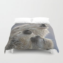 Wolf Pups Howling - Singing Lesson Duvet Cover