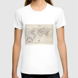 Vintage Map of The World (1750) T-shirt