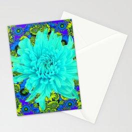 AQUA Spider Mum FLOWER GARDEN  PURPLE-LIME FLOWER GARDEN Stationery Cards