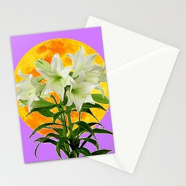 EASTER LILIES ON LILAC GOLDEN MOON Stationery Cards