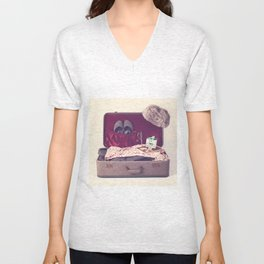 Vintage Journey Suitcase (His) (Retro and Vintage Still Life Photography) Unisex V-Neck