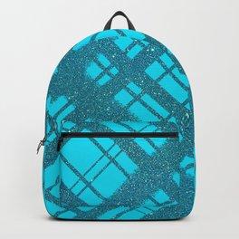 Blue Glitter Plaid on Blue Graphic Design Pattern Backpack