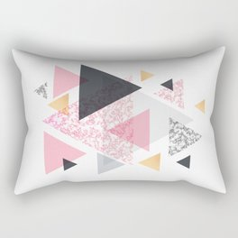 Multi Triangle - Rose Gold and Marble Rectangular Pillow