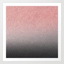 Blush chic pink  silver faux glitter geometrical Art Print