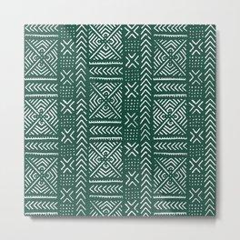 Line Mud Cloth // Brunswick Green Metal Print