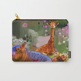 Animals in the Garden: The giraffe, hippo, and hedgehog Carry-All Pouch