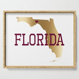 Florida Gold and Garnet with State Capital Typography Serving Tray
