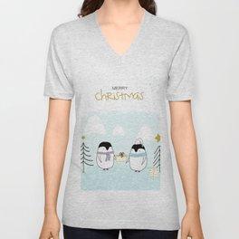 Merry Christmas with sweet penguins Unisex V-Neck