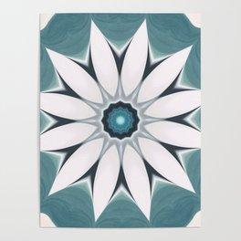 Simple White Flower Seafoam BlueBackground Poster