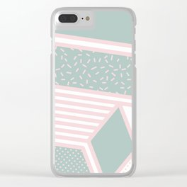 Modern Memphis Illustration - Gemetrical  Retro Art in Pink and Mint -  Mix & Match With Simplicity Clear iPhone Case