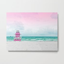 Ocean Breeze - Pink Beach Metal Print