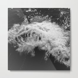 LAKE HURON WAVE B/W Metal Print