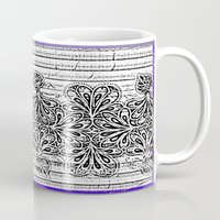 newspaper Mugs featuring Newspaper Stripe by Vikki Salmela