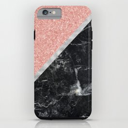 Faux Rose Glitter and Marble Pattern iPhone Case