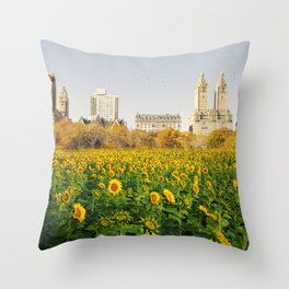 Central Park Sunflower Field Collage Throw Pillow