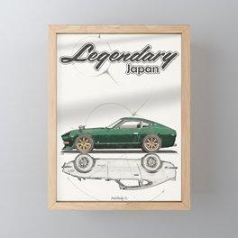Legendary Japan Green Fairlady Z 240z S30 Poster Framed Mini Art Print