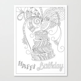 happy birthday with zen patterned cake Canvas Print
