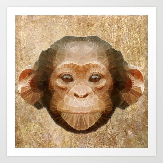 abstract baby chimpanzee Art Print
