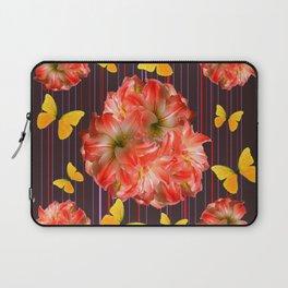 Decorative yellow Butterflies Pink Flowers Puce Laptop Sleeve
