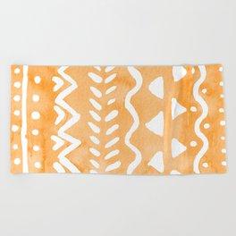 Loose boho chic pattern - orange Beach Towel