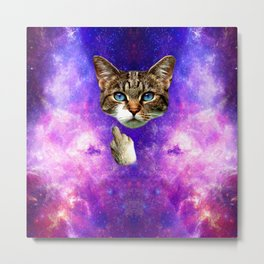 cat Fuck you finger galaxy Metal Print