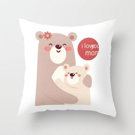 Mutual snatched bear mother and child Throw Pillow