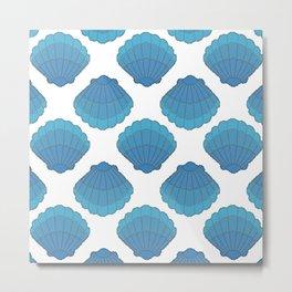 Blue Seashell Mosaic Pattern Metal Print