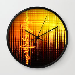 Sound wave orange Wall Clock