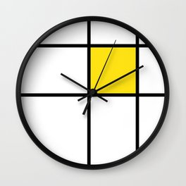 mondrian, piet mondrian, mondrian pattern, mondrian composition, yellow, Wall Clock