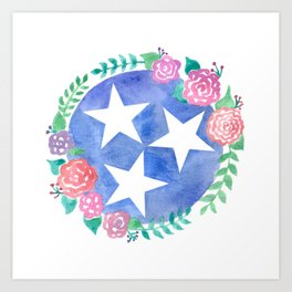 Tennessee Tri-star with flowers Art Print