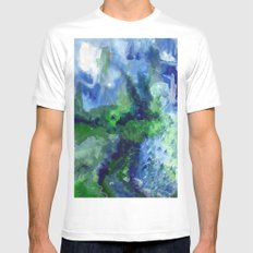 Blue-Green / Azul-Verde White MEDIUM Mens Fitted Tee