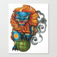 foo fighters Canvas Prints featuring Foo Dog by missfortunetattoo