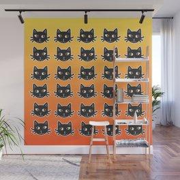 Black Cats Halloween Pattern Wall Mural