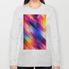 Abstract Colorful Decorative Squares Pattern Long Sleeve T-shirt