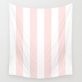 Vertical Stripes - White and Pastel Pink Wall Tapestry