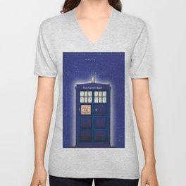 vintage police box starfield Unisex V-Neck