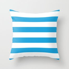 Oktoberfest Bavarian Blue and White Large Cabana Stripes Throw Pillow