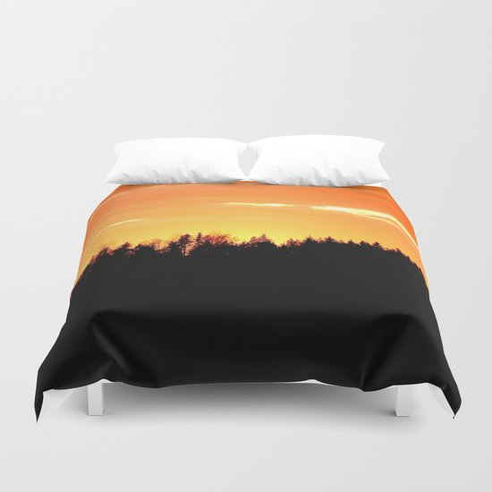 Forest Silhouette In Sunset Duvet Cover